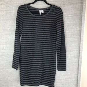 Divided Grey/Black Striped Long Sleeve Dress SizeS